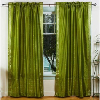 Handmade Olive Green Rod Pocket Sheer Sari Curtain Panel (India)