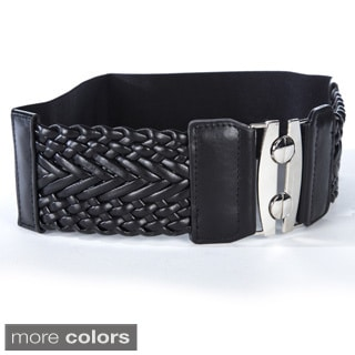 Women's Wide Braided Stretch Fashion Belt (Option: Gold)