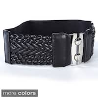 Women's Wide Braided Stretch Buckle Fashion Belt