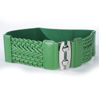 Women's Wide Braided Stretch Buckle Fashion Belt (Option: Green)