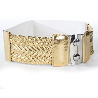 Women's Wide Braided Stretch Buckle Fashion Belt (Option: Gold)