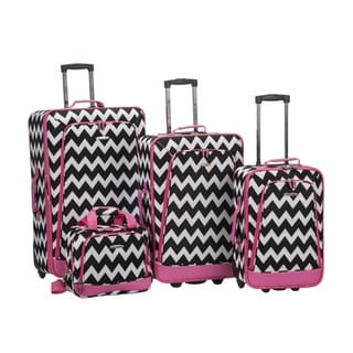 Rockland Chevron 4-piece Expandable Rolling Upright Luggage Set