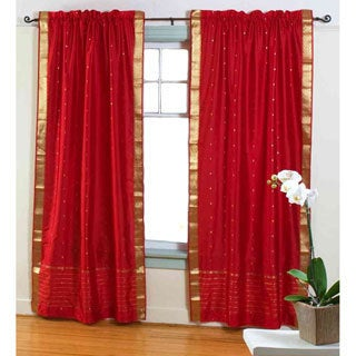 Red Sheer Sari Curtain Panel (India)