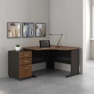 Series A 48W Corner Desk, Mobile File Cabinet in Walnut and Bronze