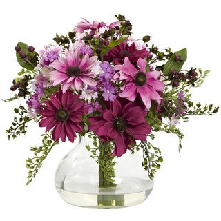 Mixed Daisy Arrangement with Glass Vase