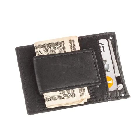 Suvelle Men's Slim Leather Magnetic Money Clip Front Pocket Wallet