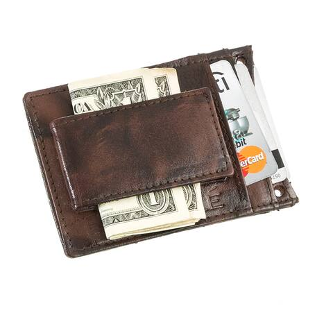Suvelle W019 Men's Leather Thin Slim Magnetic Money Clip Front Pocket Wallet with with Detachable Neck Strap - L