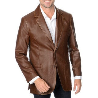 Excelled Men's Lamb Leather 3-Button Blazer - Free Shipping Today ...