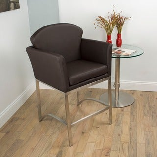 Brushed Stainless Steel 26-inch Counter Height Stationary Bar Stool