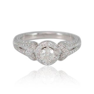 Suzy Levian 18k White Gold 4/5ct TDW Engagement Ring (F-G, I1-I2)
