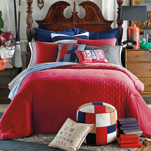 Tommy Hilfiger Prep Solid Nantucket Red Duvet Cover
