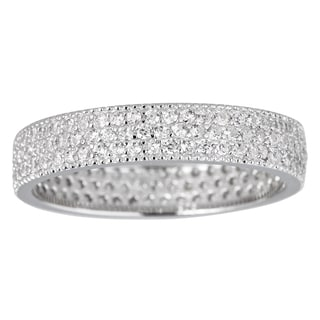 Decadence Sterling Silver Cubic Zirconia 3-strand Micropave Eternity Ring
