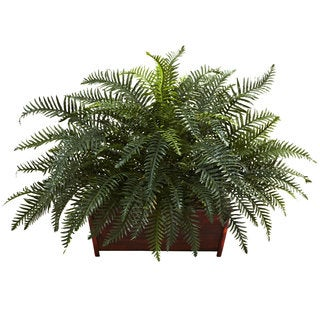 River Fern Silk Plant in Wood Planter