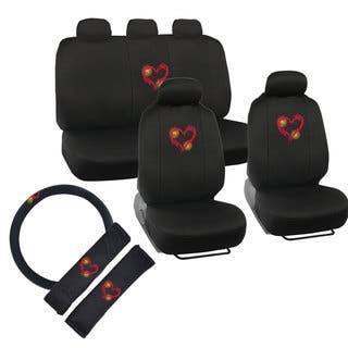 BDK Cute Heart Design Universal Car Seat Covers Full Set