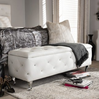 Baxton Studio Ning White Modern Crystal Tufted Upholstered Storage Bench
