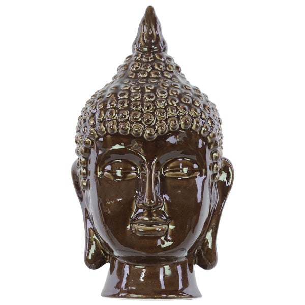 Gloss Dark Chocolate Ceramic Buddha Head Decor