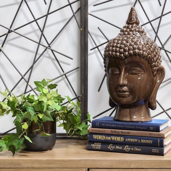 Shop Gloss Dark Chocolate Ceramic Buddha Head Decor Free