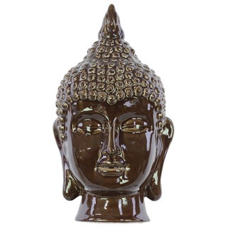 Gloss Dark Chocolate Ceramic Buddha Head Decor
