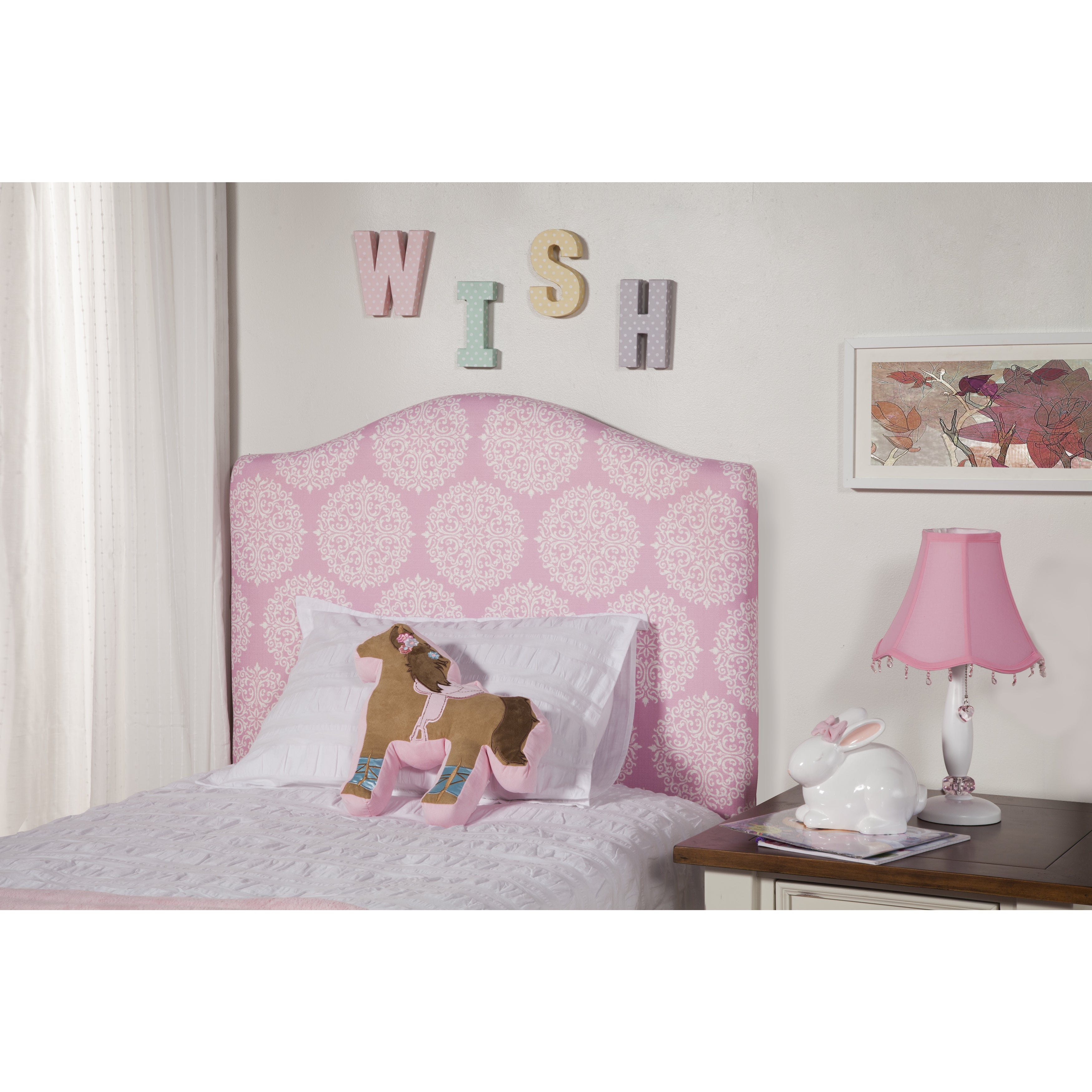 HomePop Pink Twin Headboard (Pink and white medallion fab...