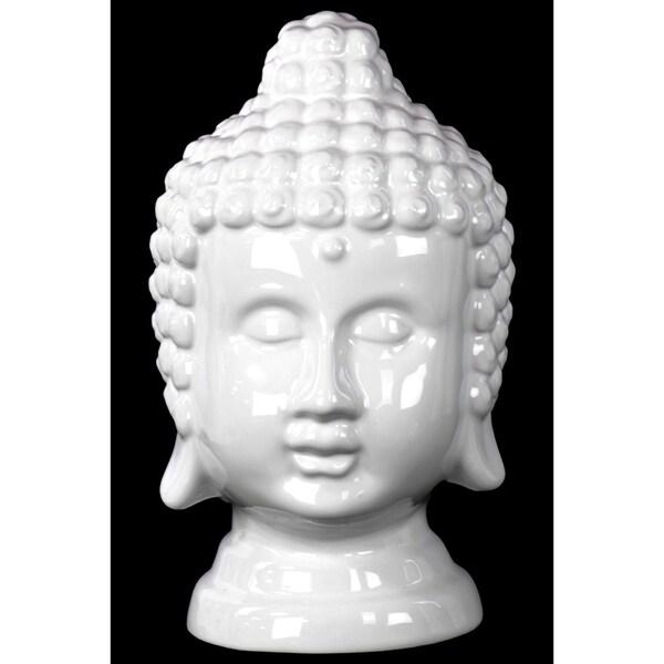 Gloss White Ceramic Buddha Head
