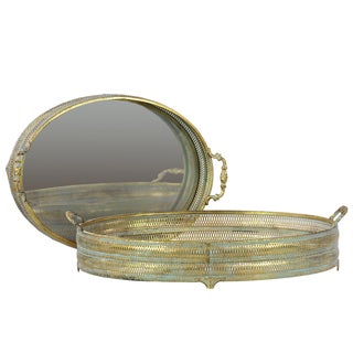 Gold Metal Trays Set of Two