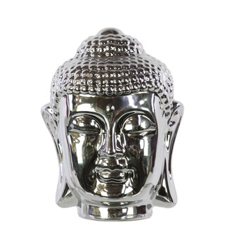 Chrome Silver Ceramic Buddha Head