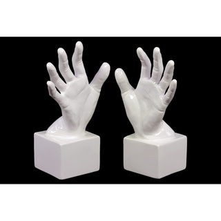 Gloss White Ceramic Open Palm Bookend