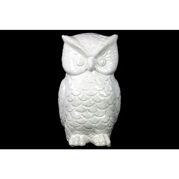 Gloss White Ceramic Owl