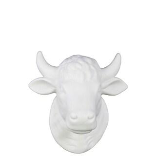 Matte White Ceramic Cattle Head wall Decor