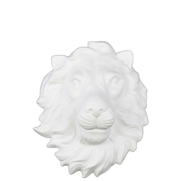 Matte White Ceramic Lion Head Wall Decor