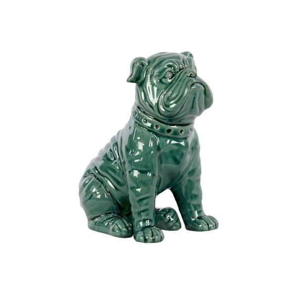 Gloss Turquoise Ceramic Sitting American Bulldog