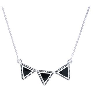 Blue Box Jewels Sterling Silver Onyx Triple Triangle Necklace