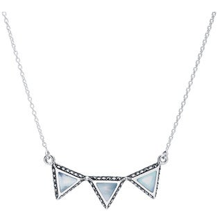 Blue Box Jewels Sterling Silver Mother of Pearl Triple Triangle Necklace