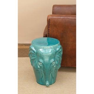 Decorative Ceramic Blue Elephant Stool
