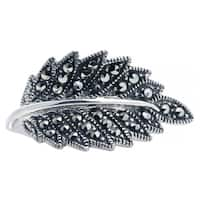 Blue Box Jewels Sterling Silver Marcasite Leaf Ring