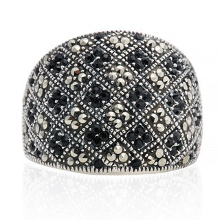 Blue Box Jewels Marcasite Onyx Patterned Ring