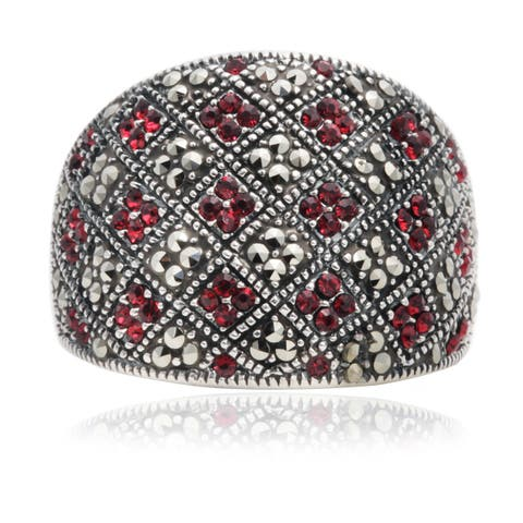 Blue Box Jewels Siam and Marcasite Patterned Ring