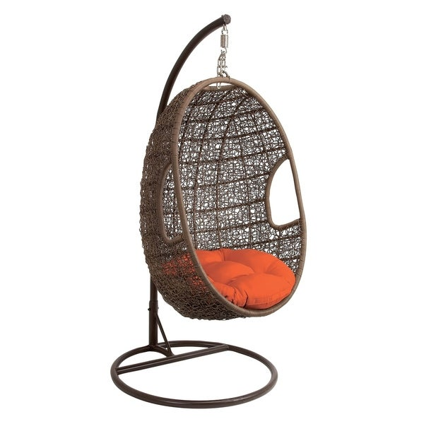 "43"" x 80"" Large Brown Outdoor Single Pod Lounge Chair w/ Orange Cushion & Decorative Weave by Studio 350"