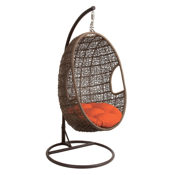 Brown Metal/ Rattan Hanging Chair Swing - Free Shipping Today - Overstock.com - 16863252