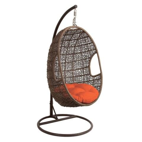 "43"" x 80"" Large Brown Outdoor Single Pod Lounge Chair w/ Orange Cushion & Decorative Weave by Studio 350"
