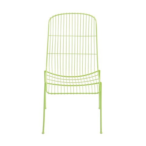 Contemporary 37 Inch Whimsical Green Metal Wire Chair by Studio 350 - N/A