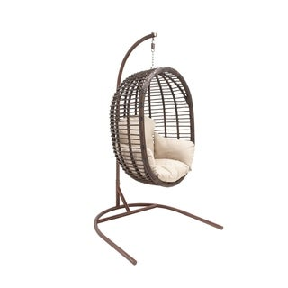 Brown Metal/Rattan Cushioned Swing