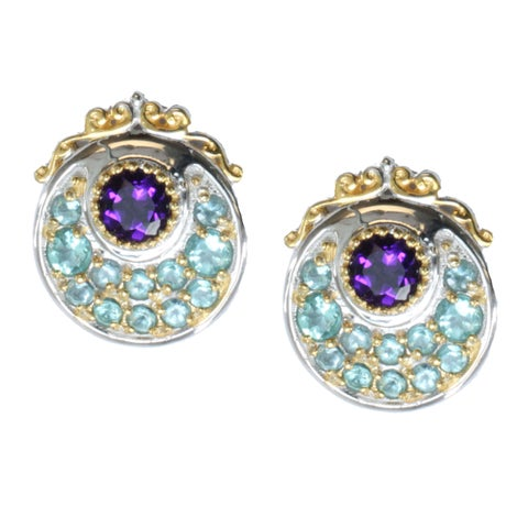Michael Valitutti Palladium Silver Apatite And Amethyst Earrings