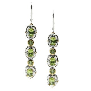 Michael Valitutti Palladium Silver Arizona Peridot Earrings
