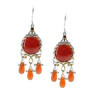 Michael Valitutti Palladium Silver Carnelian Earrings With Sapphire Accents