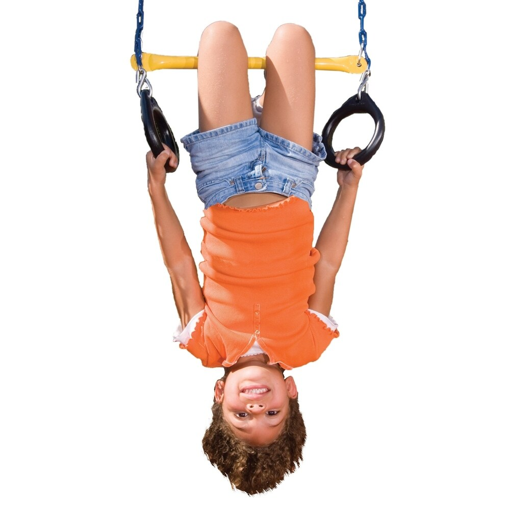 Adjustable 39in 300lbs Doorway Gym Bar Swing Set Trapeze Bar Trapeze Ring for Kids Sports Outdoor Play Happybuy Trapeze Bar with Rings 220lbs Kids Trapeze Swing Bar