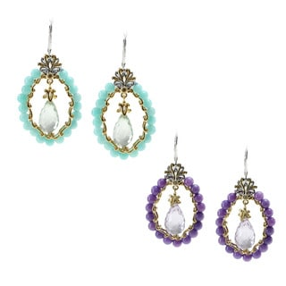 Michael Valitutti Palladium Silver Amazonite or Violet Jade Earrings