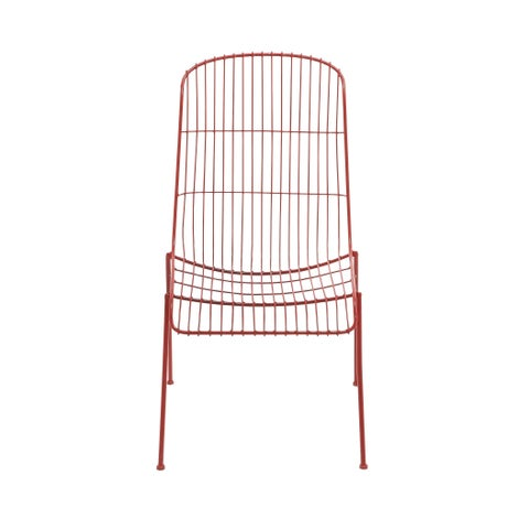 Contemporary 37 Inch Whimsical Red Metal Wire Chair by Studio 350 - N/A