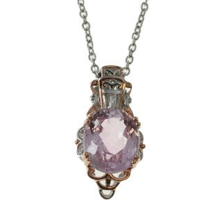 Michael Valitutti Palladium Silver Kunzite And Diamond Pendant