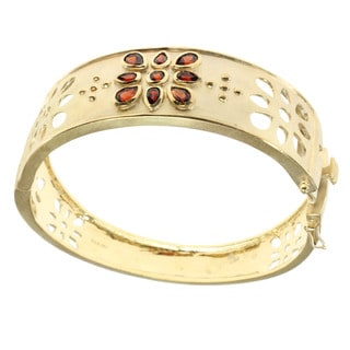 Michael Valitutti Gold Over Silver Garnet Bracelet